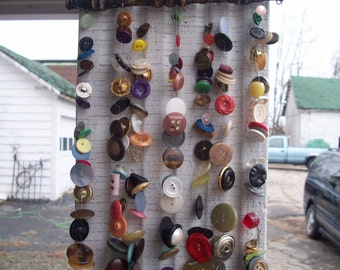 Made when ordered Button Chime with Upcycled Vintage Chair Spindle OOAK
