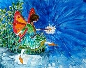 Fairy Art - Once Upon a Time Fairy Tale - Orange Red Butterfly - Magical Butterfly Girl ORIGINAL Yupo Watercolor baby nursery playroom