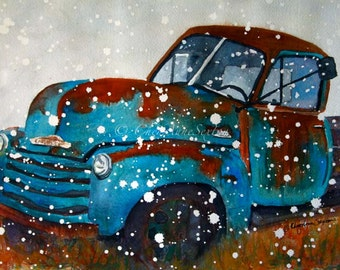Old Blue Vintage Chevy Watercolor Painting Snowy Winter Pickup Truck - winter snow Watercolour Giclee Print 10x14