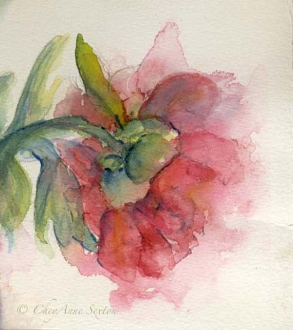 Mothers Day Watercolor Flower Art - Exquisite Love Peony Blossom - gift for Mother Grandmother - watercolour giclee 8x8 print