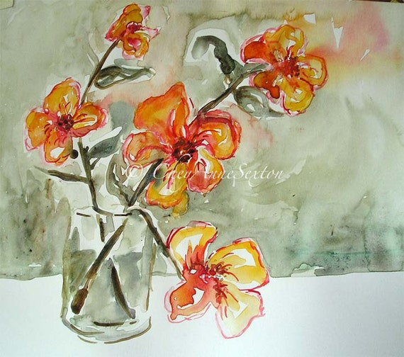 Sweet Orange Flowers Wall Art ORIGINAL Watercolor - Vase of Tangerine Tango Flowers - painting on recycled Canson Bristol