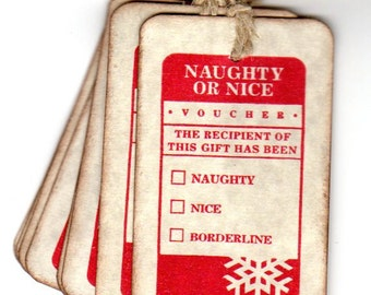 Christmas Gift Tags - Naughty or Nice Christmas Tags / Hang Tags / Labels / Place Cards / Vintage Style
