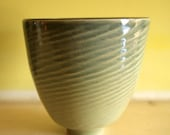 "Celadon Bowl / Tall, Textured, Pale Green, Wheel-Thrown Art Piece / Stoneware / ""LAPPING WAVES"""