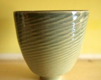 "Celadon Bowl / Tall, Textured, Pale Green, Wheel-Thrown Art Piece / Stoneware / ""LAPPING WAVES"""