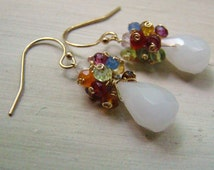 Multi Colored Gemstone Earrings - Gold Wire Wrapped Jewelry