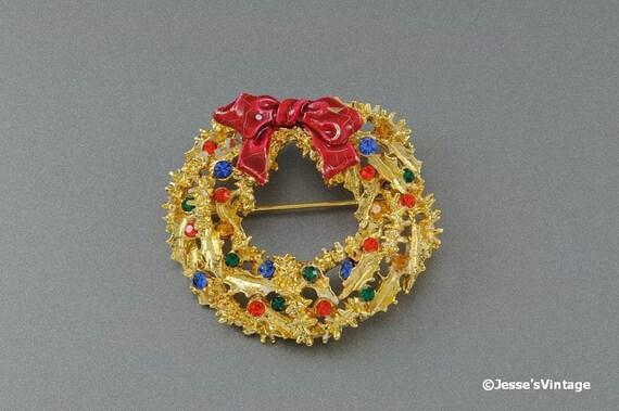 Christmas Wreath Brooch Pin Signed ART Enamel  Multi Color Rhinestones