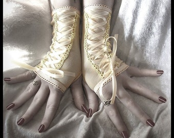Heidi's Honor Victorian Corset Style Laced Up Fingerless Gloves   Champagne & Ivory Ribbon   Rustic Wedding Tribal Bellydance Boho Gothic