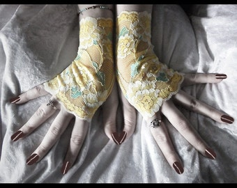 Spirit of Spring Lace Fingerless Gloves - Pale Lemon Yellow Metallic Teal Sea Cream Floral - Gothic Regency Belly Dance Wedding Bohemian