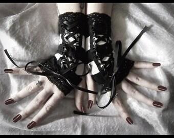 Fingerless Gloves Corset Laced Up | Black & White Stripes Lace | Ribbon | Victorian Dark Fusion Bellydance Lolita Wedding Vampire - Binary
