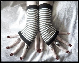 Unearthed Fingerless Gloves - Moss Olive Green & White Striped Cotton - Gothic Yoga Dark Tribal Emo Army Chic Vampire Bohemian Alice Goth