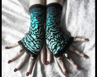 Lucid Dreams Velvet Fingerless Gloves | Teal Turquoise Blue Black Damask Burnout & Lace | Goth Victorian Bohemian Gothic Dark Tribal Vampire