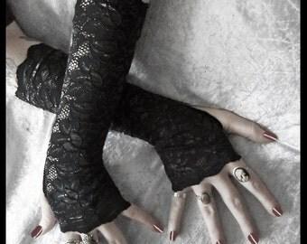 Kala Lace Arm Warmers - True Black Floral w/ Metallic Highlight - Gothic Weddings Elegant Belly Dance Fetish Fishnet Bridal Dark Lolita Goth