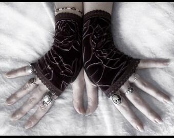 Epona Velvet Fingerless Gloves - Rich Dark Chocolate Brown - Rose Embossed - Gothic Lolita Vampire Victorian Mourning Wedding Goth Fetish
