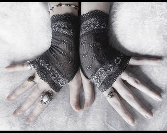 Sylvie Lace Fingerless Glove Mittens | Dark Charcoal Grey Floral Fishnet | Gothic Vampire Lolita Fall Wedding Fetish Belly Dance Goth Bridal