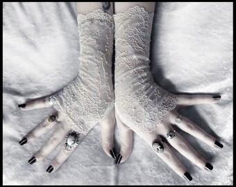 Odelette Lace Fingerless Gloves - Pale Dove Grey - Ivory Cream Blush Floral Embroidered - Gothic Vampire Regency Tribal Goth Austen Fetish