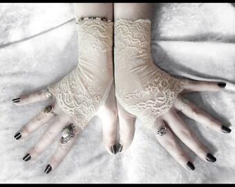 Nynette Lace Fingerless Gloves - Soft Ivory Champagne Cream Nude Floral - Wedding Gothic Regency Bridal Tribal Bellydance Goth Austen Fetish