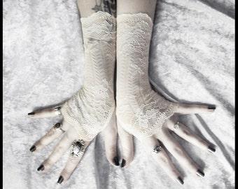 Yaviere Lace Fingerless Gloves | Soft Ivory Cream Striped Floral | Wedding Gothic Regency Tribal Bellydance Goth Austen Bridal Fetish Gypsy