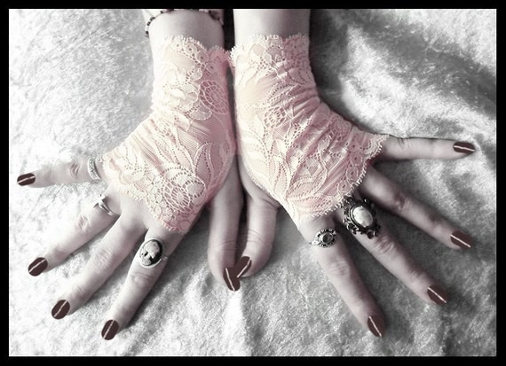 Blush Lace Fingerless Gloves - Pale Peach Pink Floral - Wedding Gothic Victorian Vampire Regency Tribal Belly Dance Noir Austen Bridal