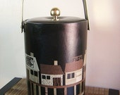 Mid CenturyTall Black Couroc Fishing Wharf Ice Bucket