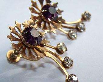 Vintage Purple Rhinestone Shooting Star Screwback Earrings