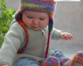 PDF Pattern Ugga Boos Knitted (Felted) Baby Shoes & Hat