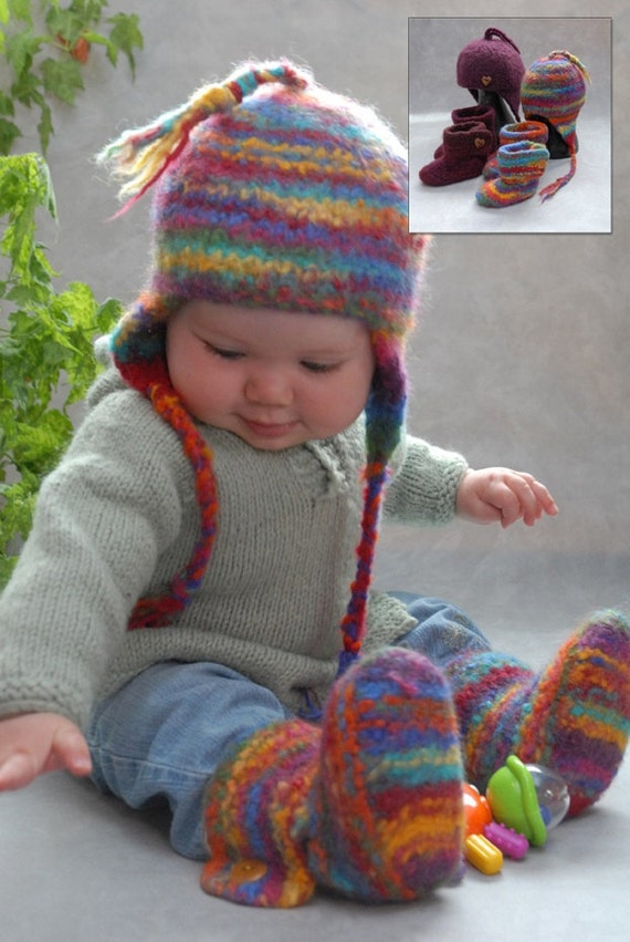 PDF Pattern Ugga Boos Knitted Felted Baby Shoes & Hat