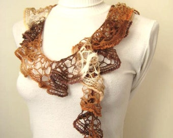 Lace Scarf - Brown Frilly Scarflette, Neck Tissue, Rag, Neckwarmer, Foulard - Gift for Her - READY TO SHIP