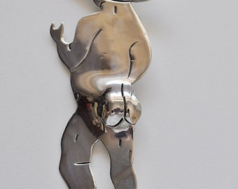 Mexican Sterling Silver Figural Brooch Pendant