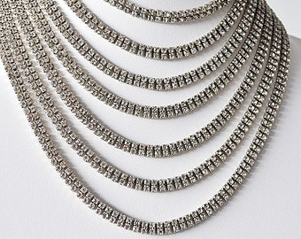 Stunning Vintage Seven Double Strand Rhinestone Necklace