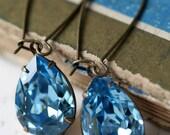 Aquamarine Earrings, Swarovski Crystal Earrings, Tear Drop Earrings, Estate Style Earrings, Blue Earrings
