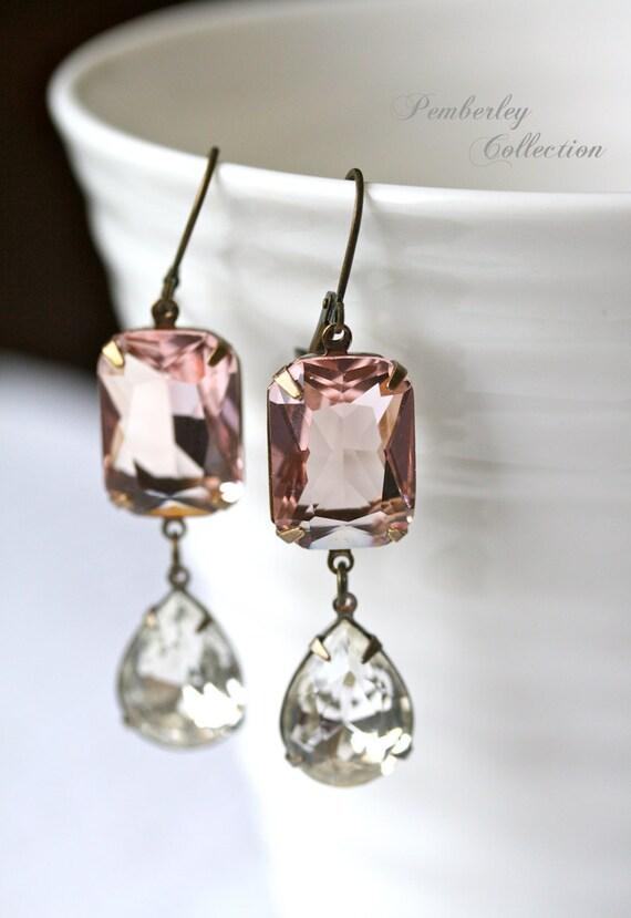 Blush Earrings, Swarovski Crystal Earrings, Pink Earrings, Estate Style Earrings