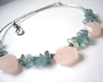 Pink Rose Quartz and Sea Green Moss Aquamarine Necklace gemstone statement necklace. Ruffle Organic Jewelrybydeezines
