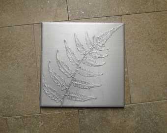 Japanese Painted Fern Leaf Wall Art, Botanical Tile, Recycled Cast Aluminum, 6 x 6 inch, Made to Order