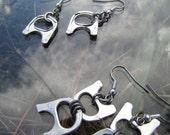 Recycled metal silver aluminium ring pull Earrings