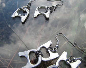 Recycled Metal, Silver Colour, Aluminium Ring Pull Earrings, Pull Tab Earrings, Lightweight and Unusual