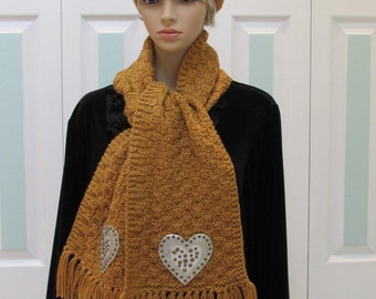 READY TO SHIP : Hat & Scarf set, Honey colored, hand knitted, with silver, Checkerboard pattern, studded  leather heart appliques