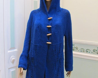 Sale item:KNITTED SWEATER/COAT, Royal Blue, Lore Hoodie, medium size, wooden toggles, knitted in an open lacey pattern