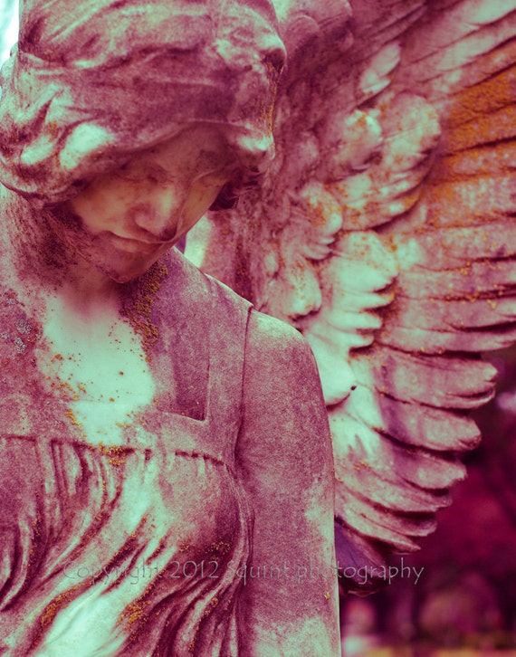 SALE Angel Photography, Pink Artwork, Angel Wings, Guardian, Statue, Cemetery Photo, Religious Decor, Fine Art, Condolence Gift, Gothic Art