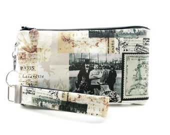 Vintage Paris clutch - rustic small purse gift set for women - bicycle bag with zipper - antique postcard fabric wristlet