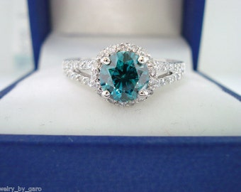 Fancy Blue Diamond Engagement Ring 1.33 Carat SI1 14K White Gold Bridal Ring handmade Halo