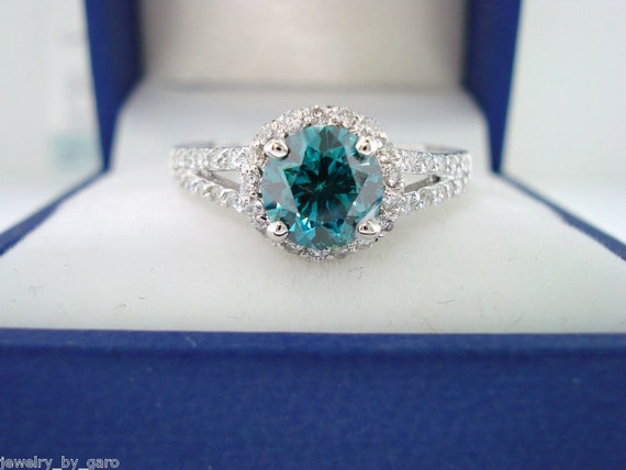 Fancy Blue Diamond Engagement Ring 1.33 Carat SI1 14K White Gold Bridal Ring handmade Halo
