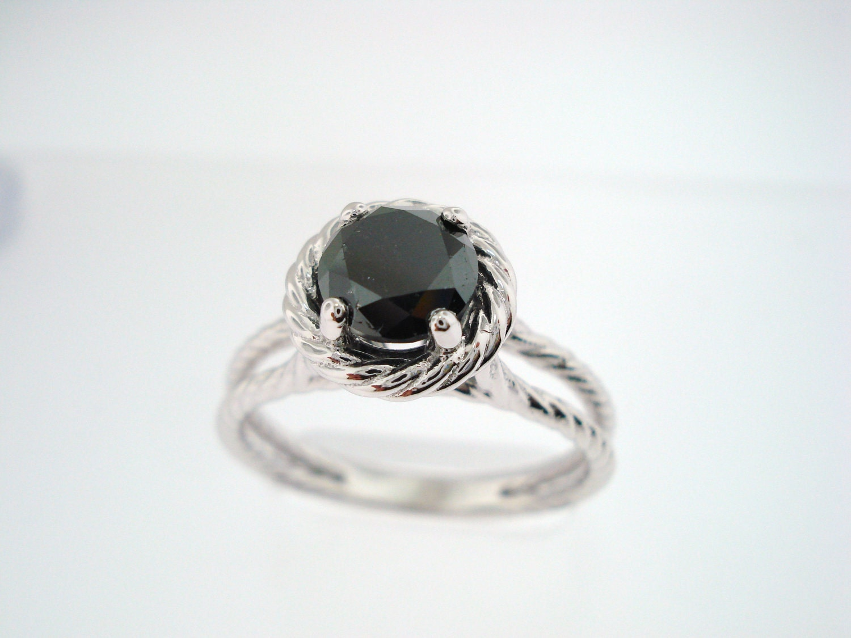 Black Diamond Solitaire Engagement Ring 14K White Gold 1 10