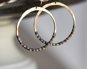 Rough Diamond Earrings, Raw Diamond Earrings, Diamond Hoops, Bohemian Wedding - Diamond in the Rough Hoops