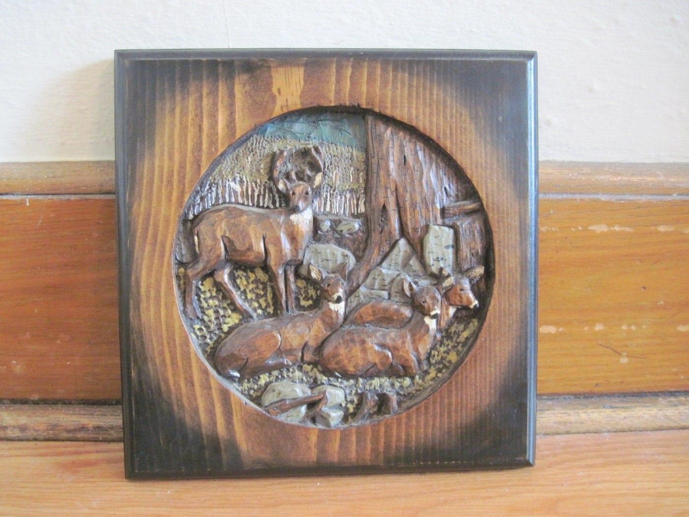Vintage Hand Carved Wooden Deer Art Plaque Woodland