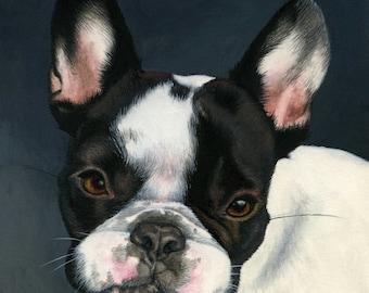 Custom Pet Portrait - painting, dog art, dog portrait, bulldog art