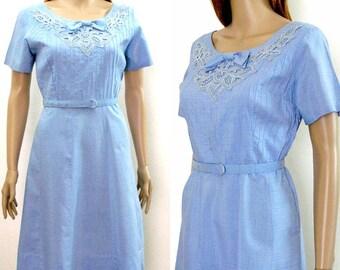 Vintage 1950s Dress Light Blue Lace Pintucks Day Dress / Medium