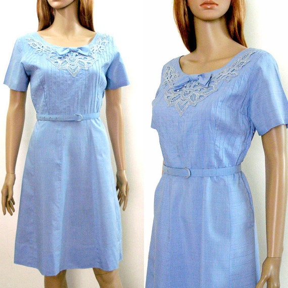 Vintage 1950s Dress Light Blue Lace Pintucks Day Dress / Medium