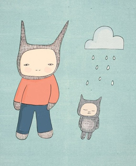 Cute Animal Art Print- Mr Rabbit and Fred - Clouds and Raindrops Illustration