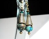 Aqua Terra Earrings, Blue and Green Jasper, Bronze Earrings, Emerald Green, Boho Hippie Earrings, Earthy Earrings, Statement Earrings