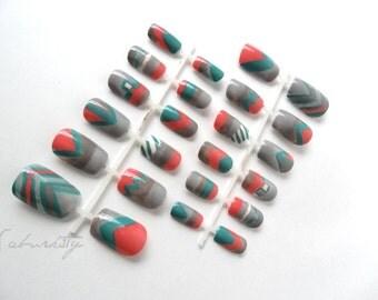 New Mexico Tribal Nail Art Santa Fe Design rustic art nails mint earth tone stripes acrylic nails nail designs hand painted nails